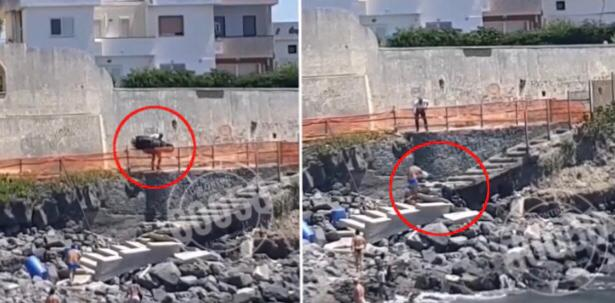Photo of Follia a Torre Annunziata, uomo in preda all'ira lancia lo scooter sugli scogli